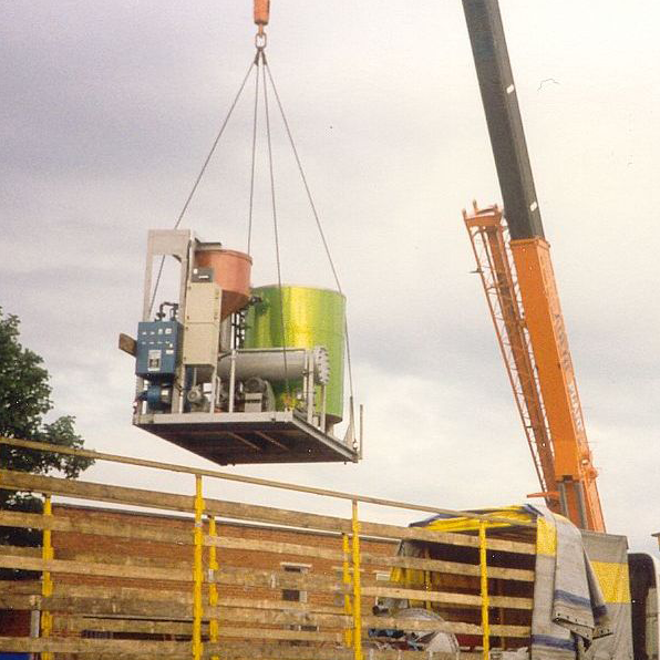 Grease Kettle Skid Lifted by Crane